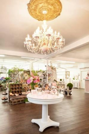 pink chandelier interior